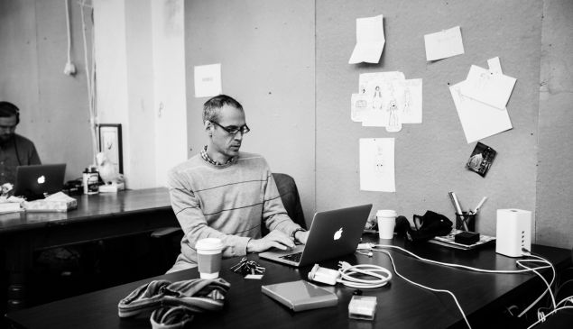 Alex Blumberg at work in the Gimlet office.
