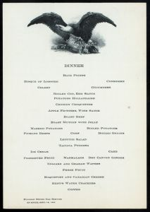 Menu from Pullman Dining Car Service - Funeral Train of President McKinley, Washington to Canton, 1901. (Photo Credit: Rare Books Division, The New York Public Library)