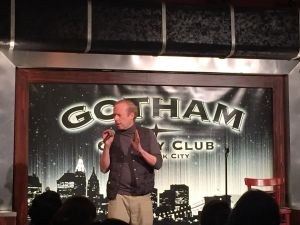 George Rush performing his schtick at Gotham Comedy Club (Ben Shapiro/Observer)