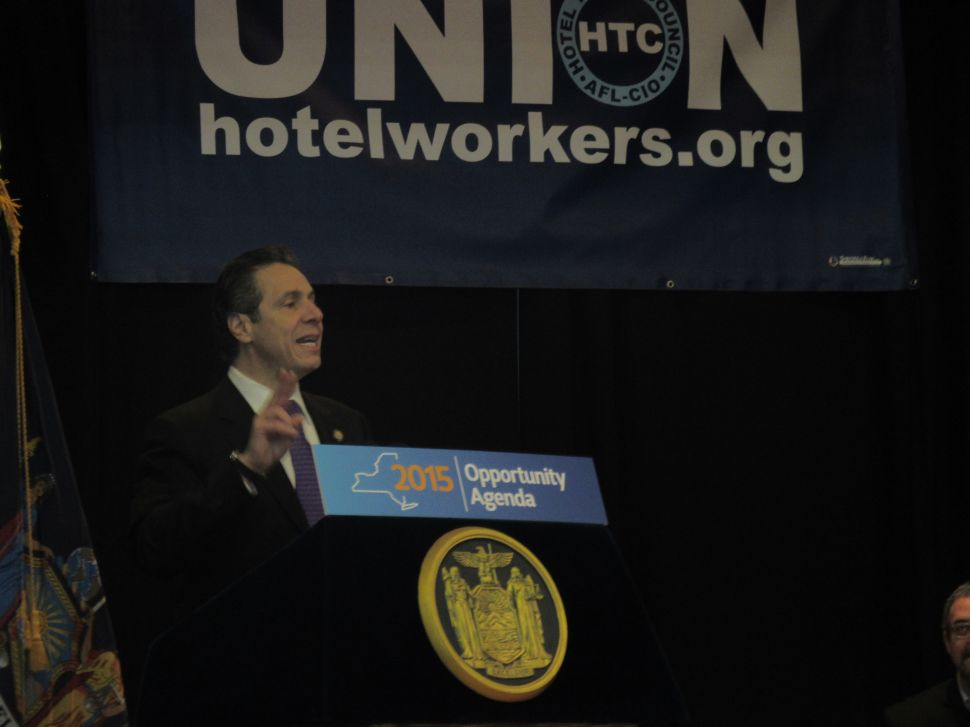 Cuomo Rallies With Labor for Wage Hike Plan