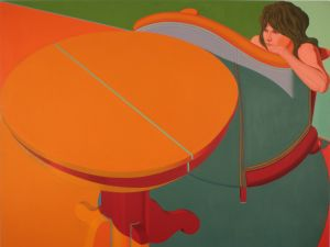 Jack Beal, Sondra with Table (1970). (Courtesy George Adams Gallery)