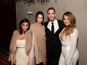 Kim Kardashian, Kendall Jenner, Command PR head Simon Huck and Khloe Kardashian at the Gramercy Park Hotel (Photo: Michael Simon).
