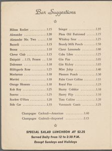 Bar suggestions, Palm Court. (Photo Credit: Rare Books Division, The New York Public Library)