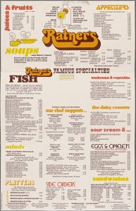 Menu from Ratner's Restaurant, 1987. (Photo Credit: Rare Books Division, The New York Public Library)