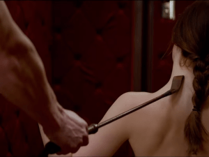 A scene from Fifty Shades of Grey, starring Dakota Johnson.