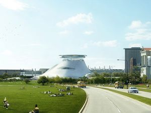 An architectural rendering of the planned Lucas Museum of Narrative Art on Chicago's lakefront museum campus (Photo courtesy Lucas Museum of Narrative Art).