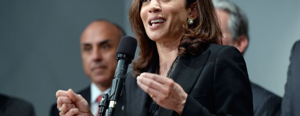 California Attorney General Kamala Harris speaks at a news conference on May 17, 2013 at the Los Angeles Civic Center in Los Angeles, California. Harris hosted a meeting of the state's district attorneys to develop recommendations on reducing gun violance. (Photo by Kevork Djansezian/Getty Images)