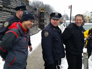 Councilmen Brad Lander and Carlos Menchaca are arrested in Brooklyn today. (Photo: Ross Barkan/New York Observer)