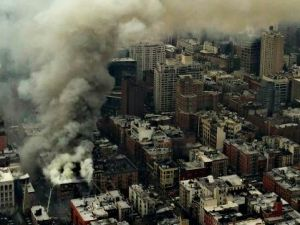 The view from the air, post-collapse, at 4:46 pm. (Photo: NYPD)