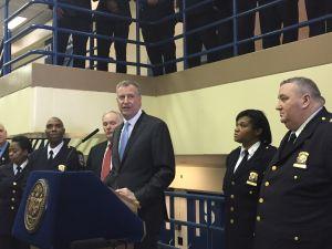 Mayor Bill de Blasio at the Otis Bantum Correctional Center on Rikers Island earlier this year. (Photo: Jillian Jorgensen/New York Observer)