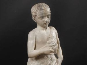 The young Saint John the Baptist, Michelangelo Buonarroti. Original pieces in marble and reconstruction in resin. (Photo: Museo del Prado)