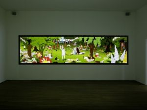 Happiness (Finally) After 35,000 Years of Civilization 2000-2003, video by Paul Chan, as installed at the Schaulger, Basel, Switzerland 2014. (Courtesy Greene Naftali Gallery.)