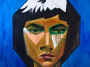 Hulda Guzmán, Portrait, 2014, acrylic on canvas 48 × 48 inches. Courtesy Lyle O. Reitzel Gallery, Santo Domingo
