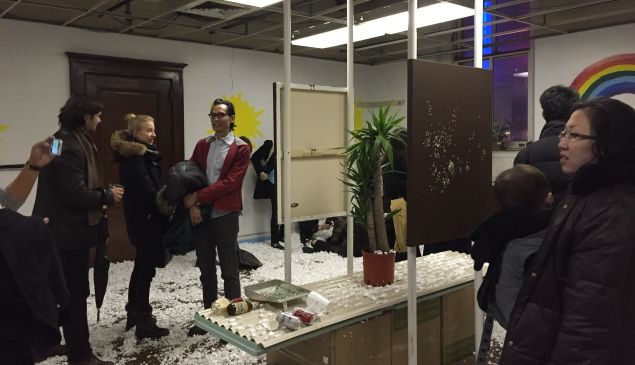 This is what shredding $10,000 looks like. The Bazaar Teens' The Riches of God's Love unto the Vessels of Mercy, curated by Dustin Yellin at the Spring/Break Art Show. (Photo: Alanna Martinez)