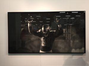 Robert Longo, <em>St. Louis Rams (Hands Up)</em> at Metro Pictures. (Photo: Alanna Martinez)