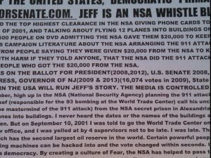 """Boss gave PolitickerNJ one of his iconic """"NSA did 9/11"""" flyers, pictured here."""