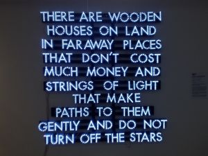 "Robert Montgomery, ""Wooden Houses"" (2013) (Photo: Brianna McGurran)."
