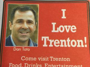 Toto says he routinely takes out ads like this one in the Trentonian to keep his face and message in the public eye.