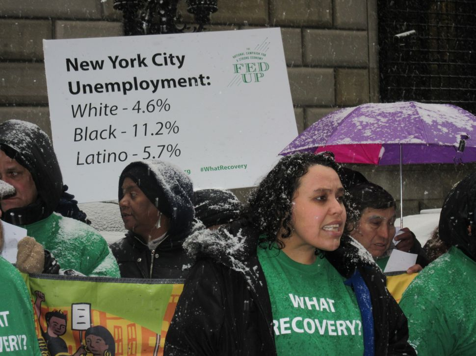 Minority Groups Rally Outside Fed Against Interest Rate Hike