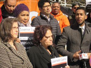 Councilwoman Helen Rosenthal, left, with Councilman Carlos Menchaca, center, and Councilman Antonio Reynoso, right (Photo: Will Bredderman/New York Observer).