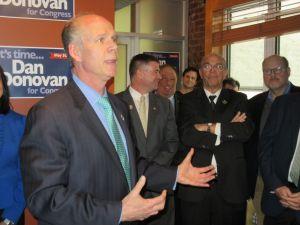 Congressman Daniel Donovan, left, with Congressman Chris Gibson, John Catsimatidis, Mike Long and Joseph Lhota (Photo: Will Bredderman for Observer).
