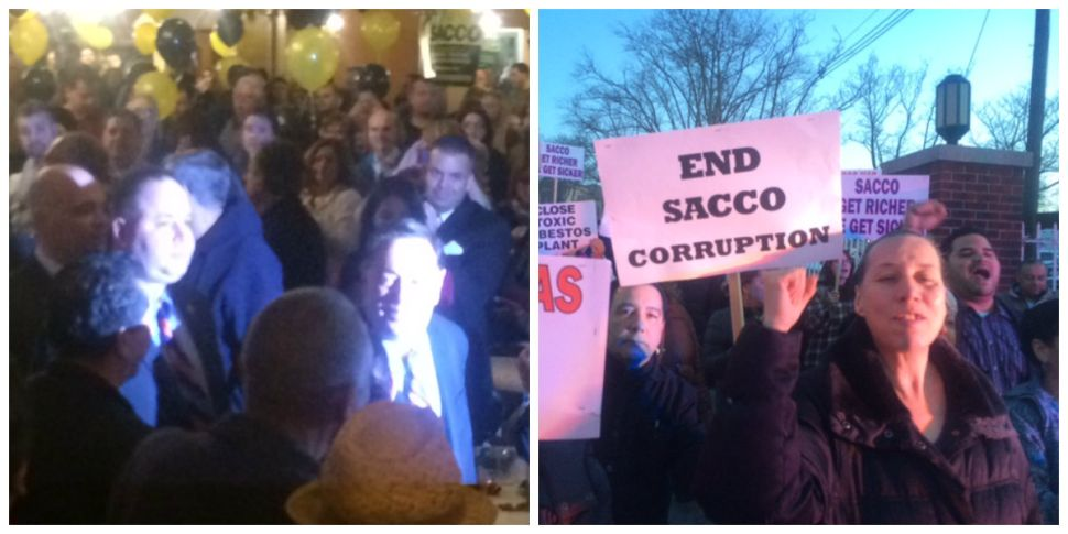 After North Bergen raid, Sacco leads rally tinged with rage