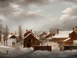 "Francis Guy, ""Winter Scene in Brooklyn"" (1819–20) (Photo courtesy Google Art Project)."