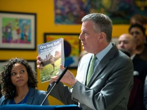 "Mayor Bill de Blasio announces the release of ""One New York: The Plan for a Strong and Just City"" in the Bronx. (Demetrius Freeman/Mayoral Photography Office)"