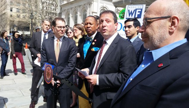 Councilman Brad Lander speaks during a rally for legislation to ban credit checks in hiring for most jobs. (Photo: Ross Barkan/New York Observer)