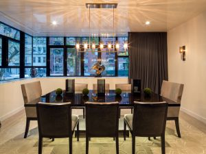 The dining room looks onto East 57th Street.