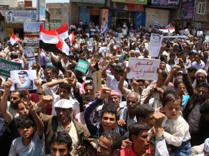 Yemeni supporters of the Saudi-led coalition demonstrate against the Shiite Houthi rebels (Getty Images).