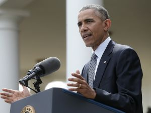 President Barack Obama delivers remarks in the Rose Garden of the White House on negotiations with Iran over their nuclear program on April 2, 2015 in Washington, DC. In exchange for Iran's agreement to curb their country's nuclear proliferation, the United States would lift some of the crippling sanctions imposed. (Photo by Win McNamee/Getty Images)