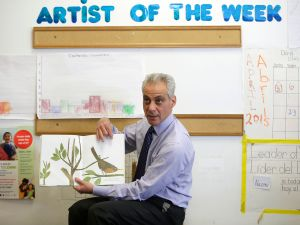 Chicago's Mayor Rahm Emanuel reads to students at Carole Robertson Center for Learning April 8, 2015 in Chicago, Illinois. Emanuel was elected to his second term as mayor after defeating Cook County Commissioner Jesus 'Chuy' Garcia in a runoff election. (Photo by Joshua Lott/Getty Images)