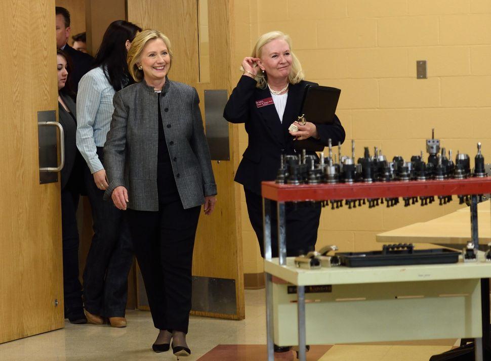 Hillary Clinton Hits Progressive Notes at Women's Forum