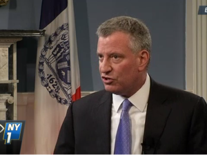 Mayor Bill de Blasio during a sit-down with NY1. (Screenshot: NY1)