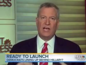 "Mayor Bill de Blasio on ""Meet the Press"" the day Ms. Clinton announced, not endorsing her."