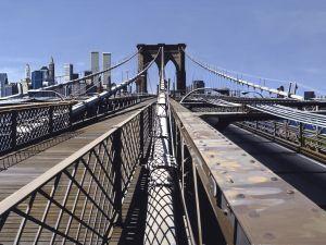 Richard Estes, Brooklyn Bridge, (1993). (Courtesy of Ann and Donovan Moore © Richard Estes,courtesy Marlborough Gallery, New York)