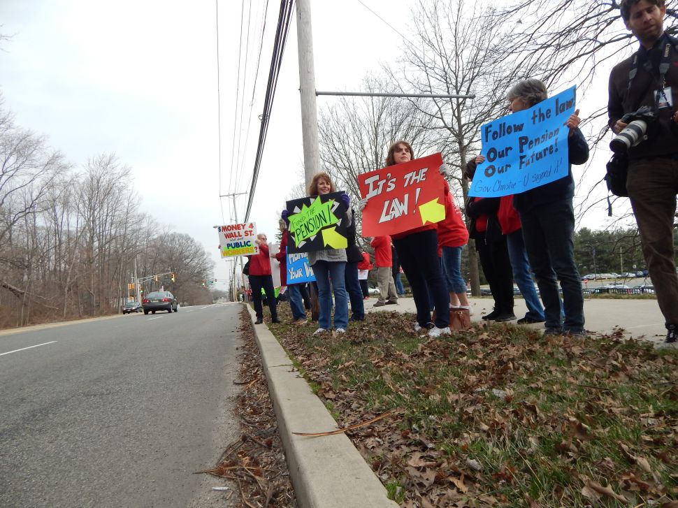 Christie met by NJEA protesters — again — at Old Bridge town hall