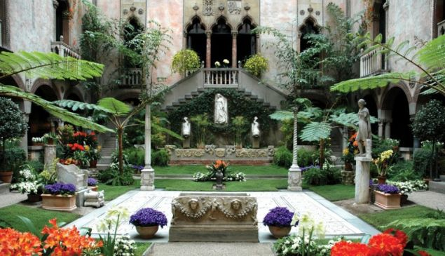 A garden inside the Gardner Museum, in Boston.