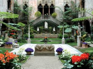 A garden inside the Gardner Museum, in Boston.