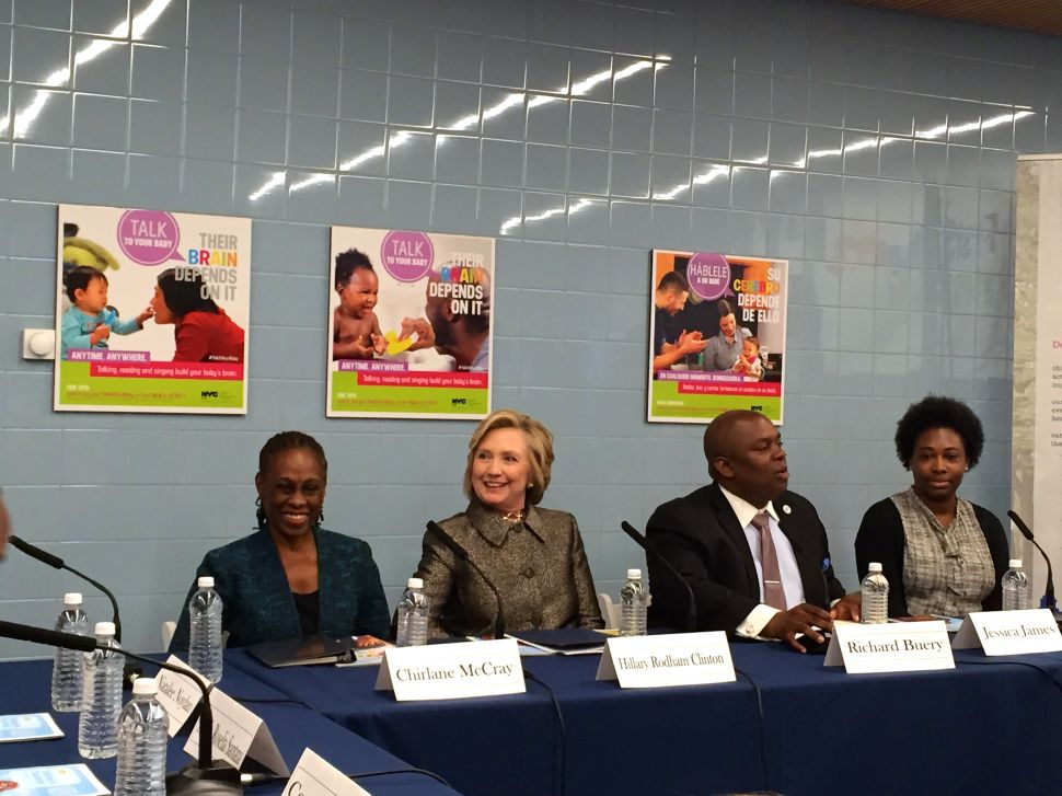Hillary Clinton Talks Babies, But Not Presidential Bid, in Brooklyn