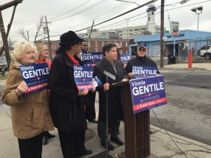 Councilman Vincent Gentile held a press conference on transportation funding today, beside a recently filled pothole. (Photo: Jillian Jorgensen/New York Observer)