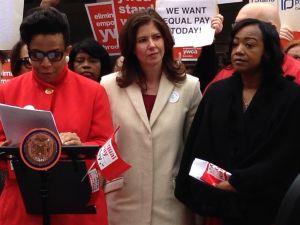 Councilwoman Laurie Cumbo, left, speaks in favor of Councilwoman Elizabeth Crowley and Councilwoman Darlene Mealy's bill (Photo: Will Bredderman/New York Observer).