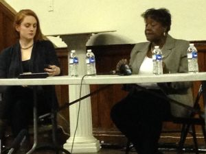 Shirley Patterson, right, addresses the audience at Grace Chapel (Photo: Will Bredderman/New York Observer).