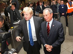 Mayor Bloomberg with Mayor of London Boris Johnson at Westminster undergound station in 2010. (Photo: Chris Ratcliffe/Mayor's Office)