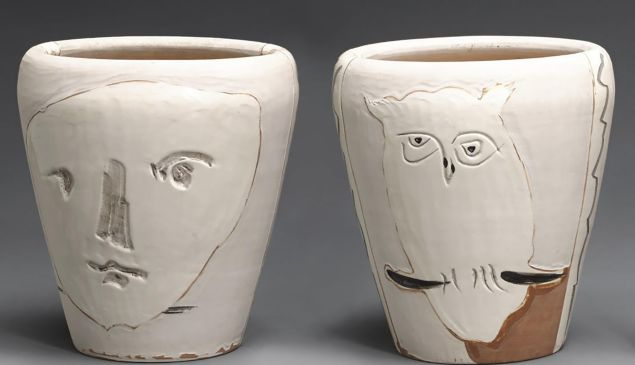 Face and Owl (A.R. 407), 1958. The pair goes on the block at Bonham's in New York May 11, with an estimate of $20,000-$30,000