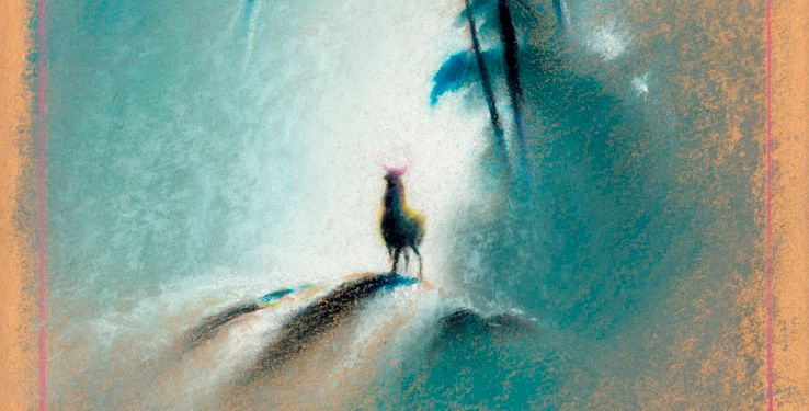 One of the iconic paintings of Bambi in the forest that helped Tyrus Wong's work become the basis for the art in the Disney film (Courtesy of Ron and Diane Miller)