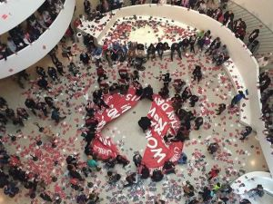 Protestors occupied the Guggenheim's Rotunda on May 1, 2015. (Photo: Kyle Goen via Instagram @kyledidthis)