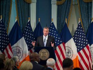 Mayor Bill de Blasio presenting his budget today. (Demetrius Freeman/Mayoral Photography Office)