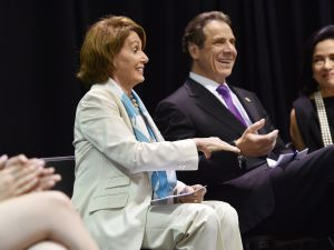 "Governor Andrew M. Cuomo and Lieutenant Governor Kathy Hochul announce the ""Enough is Enough"" Campaign against sexual assault on campus at the Fashion Institute of Technology in New York City. (Kevin P. Coughlin/Office of the Governor)"
